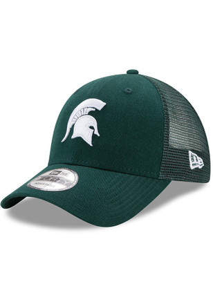 New Era Michigan State Spartans Mens Green Trucker Washed 9FORTY Adjustable Hat