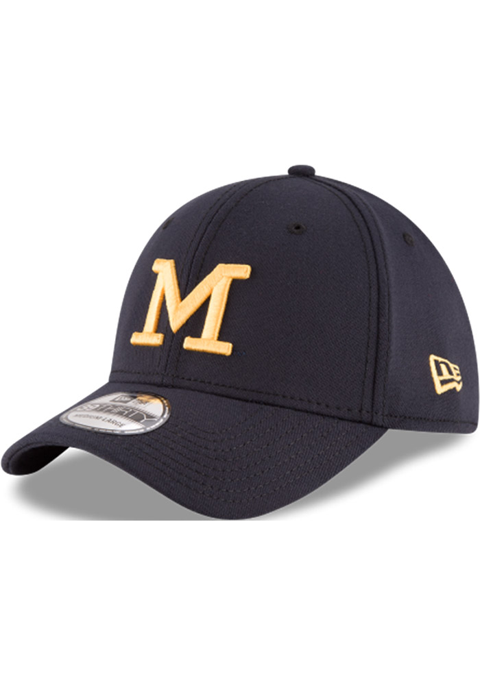 21f73de6512 New Era Michigan Wolverines Mens Navy Blue Classic 39THIRTY Flex Hat -  Image 1