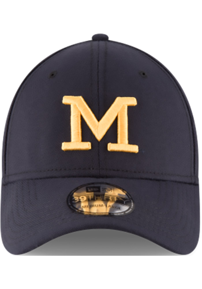 New Era Michigan Wolverines Mens Navy Blue Classic 39THIRTY Flex Hat - Image 2
