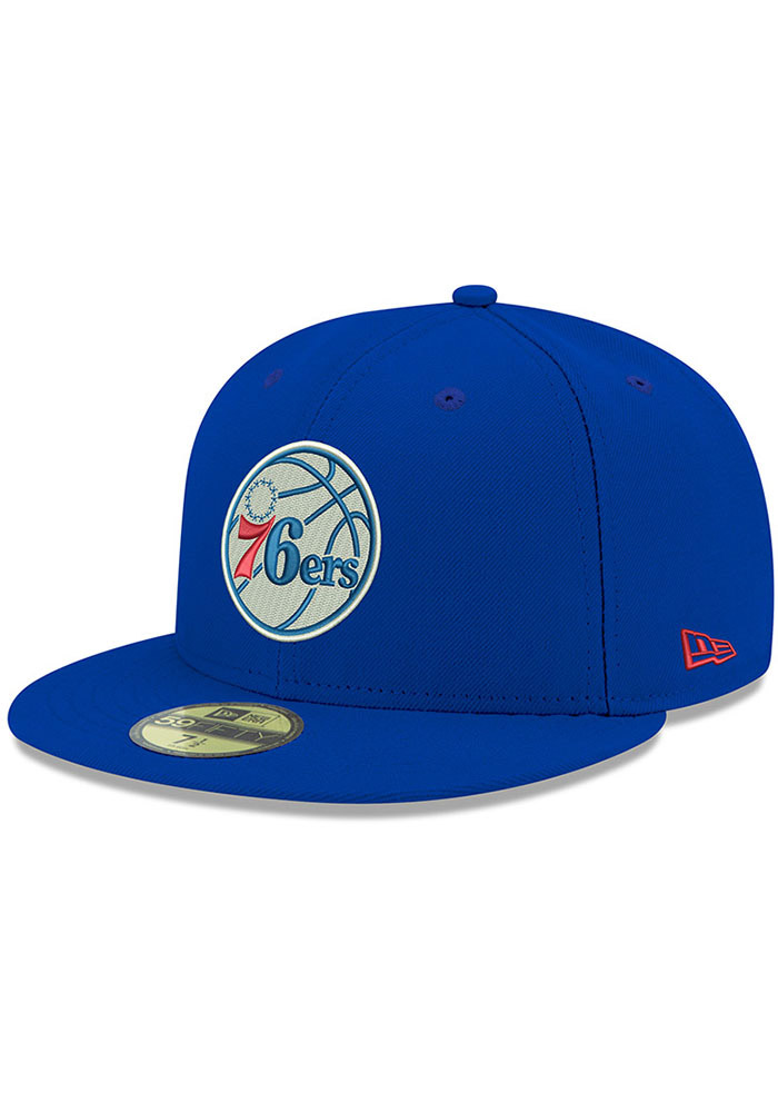New Era Philadelphia 76ers Mens Blue 59FIFTY Fitted Hat - Image 1