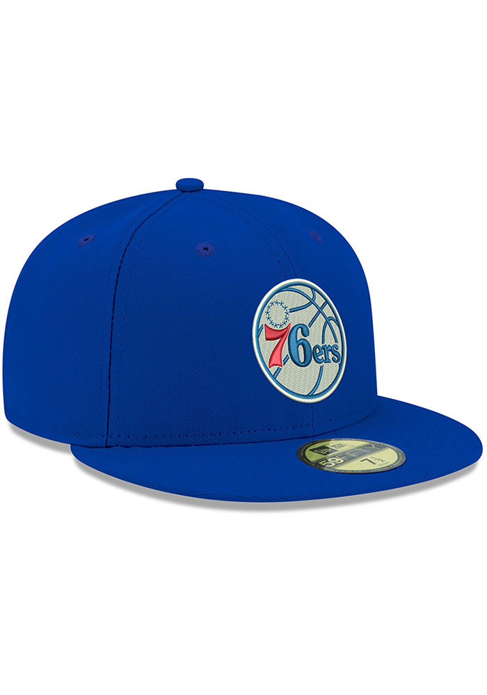 New Era Philadelphia 76ers Mens Blue 59FIFTY Fitted Hat - Image 2