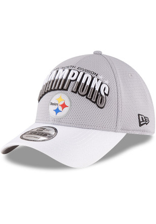 New Era Pittsburgh Steelers Mens Grey 2016 Div Champion 9FORTY Adjustable Hat