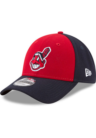 New Era Cleveland Indians Mens Navy Blue League Blocked Adjustable Hat