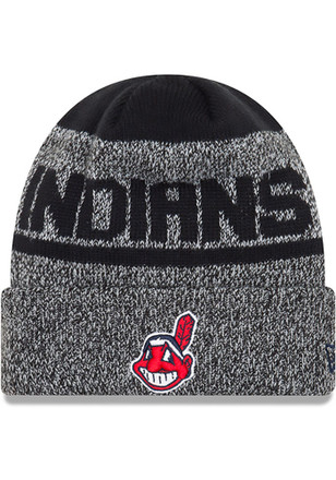 New Era Cleveland Indians Mens Black Layered Chill Knit Hat