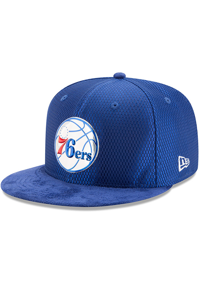 New Era Philadelphia 76ers Mens Blue NBA17 On Court Fitted Hat - Image 1