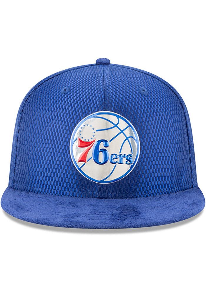 New Era Philadelphia 76ers Mens Blue NBA17 On Court Fitted Hat - Image 3