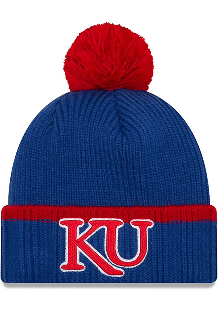New Era Kansas Jayhawks Blue Prime Team Pom Mens Knit Hat, Blue, Acrylic, Size OSFM