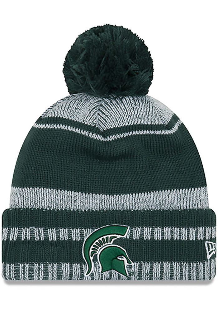 New Era Michigan State Spartans Green Glacial Pom Mens Knit Hat, Green, Acrylic, Size OSFM