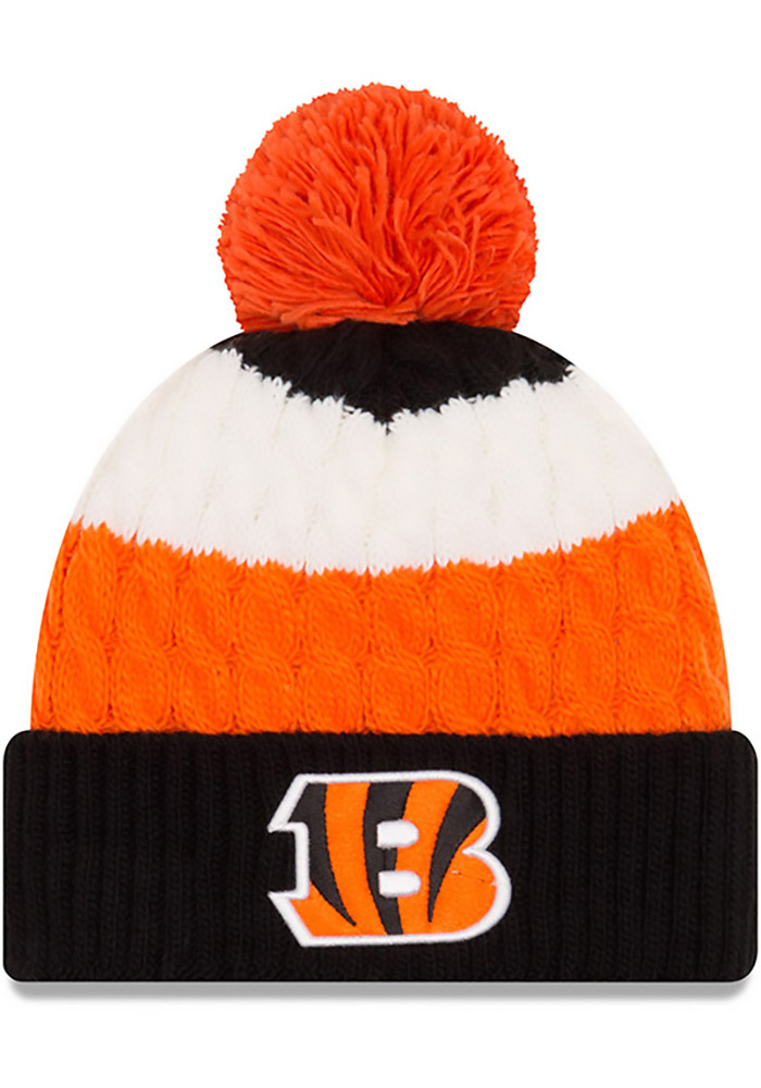 New Era Cincinnati Bengals Black Layered Up Womens Knit Hat - Image 1
