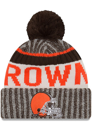 New Era Cleveland Browns Brown 2017 Official Sport Knit Hat
