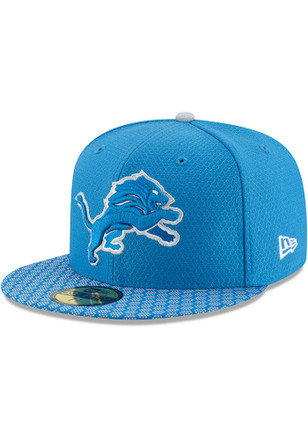 Detroit Lions New Era Mens Blue 2017 Official Sideline Fitted Hat