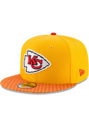 New Era Kansas City Chiefs Kids Yellow 2017 Official Sideline Snapback Hat