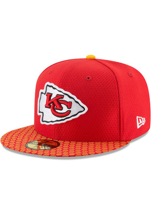 Kansas City Chiefs New Era Mens Red 2017 Official Sideline Fitted Hat