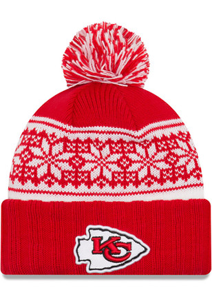 New Era Kansas City Chiefs Womens Red Snowy Pom Knit Hat
