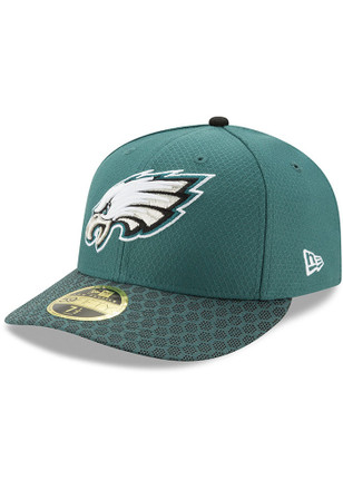 Philadelphia Eagles New Era Mens Green 2017 Official Sideline Fitted Hat