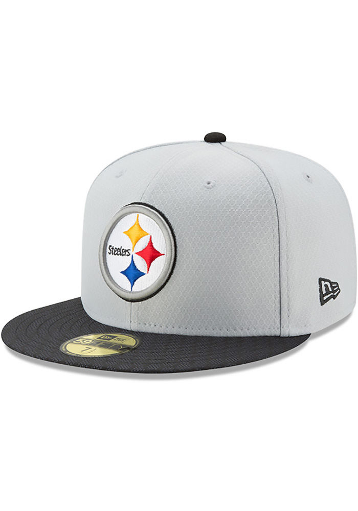 New Era Pittsburgh Steelers Mens Grey 2017 Official Sideline Fitted Hat -  Image 1 b00ff4681