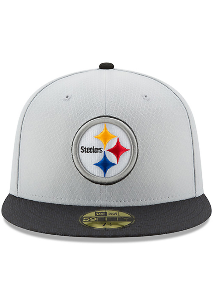 New Era Pittsburgh Steelers Mens Grey 2017 Official Sideline Fitted Hat -  Image 3 3a324e629