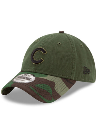 New Era Chicago Cubs Mens Green 2017 Memorial Day 9TWENTY Adjustable Hat