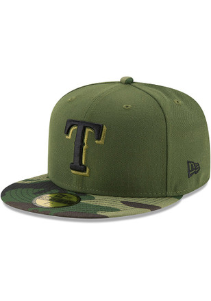Texas Rangers New Era Mens Green 2017 Memorial Day AC 59FIFTY Fitted Hat