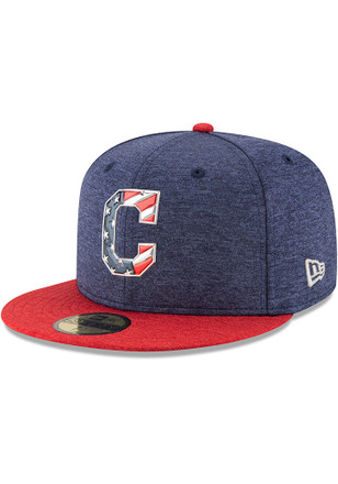 Cleveland Indians New Era Mens Navy Blue 2017 4th of July AC 59FIFTY Fitted Hat