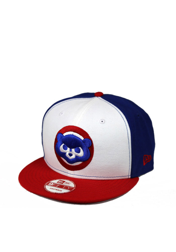 New Era Chicago Cubs Blue White Front 9FIFTY Mens Snapback Hat - Image 1