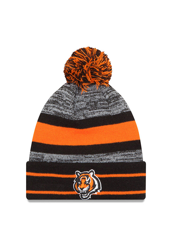 New Era Cincinnati Bengals Black Cuff Pom Mens Knit Hat - Image 1