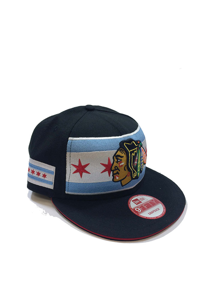 New Era Chicago Blackhawks Black City Flag 9FIFTY Mens Snapback Hat - Image 1