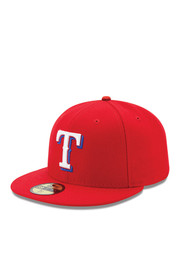 Texas New Era Mens Red Alt AC 59FIFTY Fitted Hat