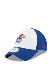 New Era Kansas Jayhawks Mens Blue Core Shore White Front 9TWENTY Adjustable Hat