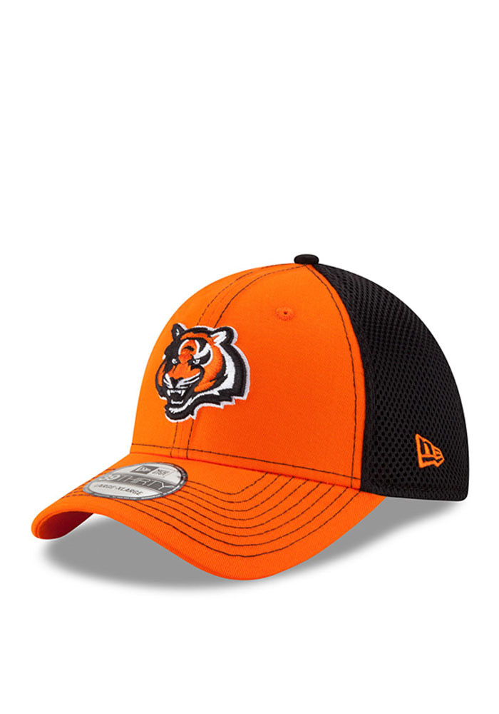New Era Cincinnati Bengals Mens Orange Team Front Neo 39THIRTY Flex Hat - Image 1