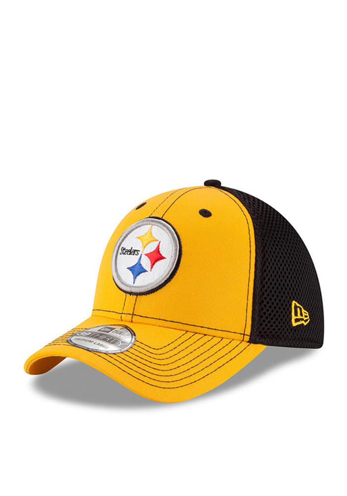 New Era Pittsburgh Steelers Mens Gold Team Front Neo 39THIRTY Flex Hat - Image 1