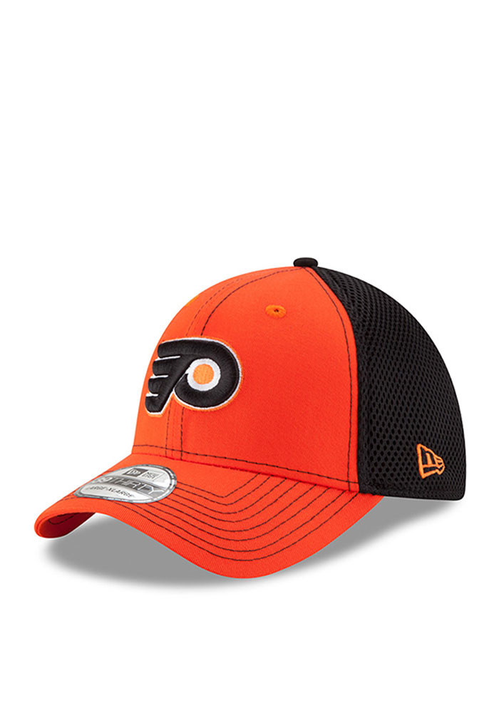 New Era Philadelphia Flyers Mens Orange Team Front Neo 39THIRTY Flex Hat - Image 1