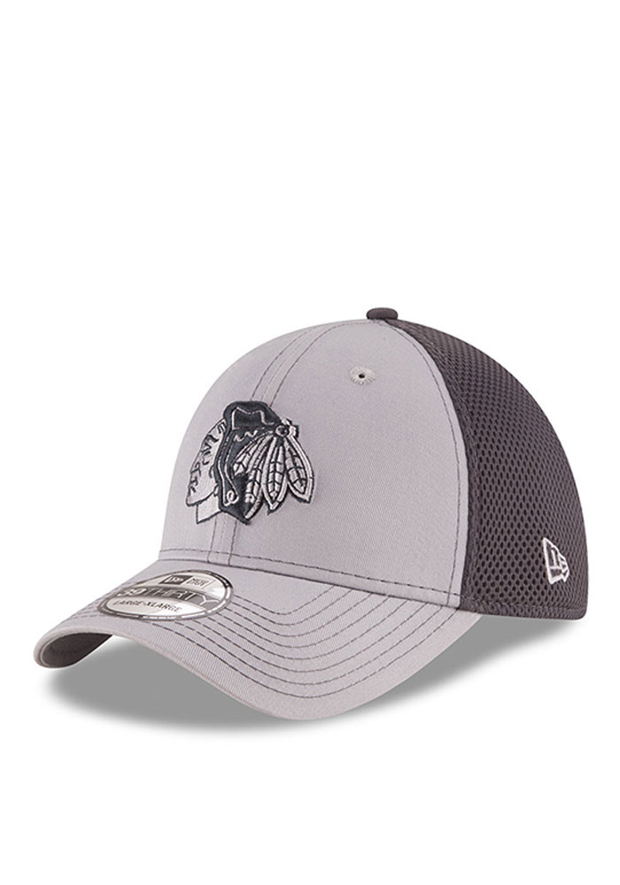 New Era Chicago Blackhawks Mens Grey Grayed Out Neo 2 39THIRTY Flex Hat - Image 1