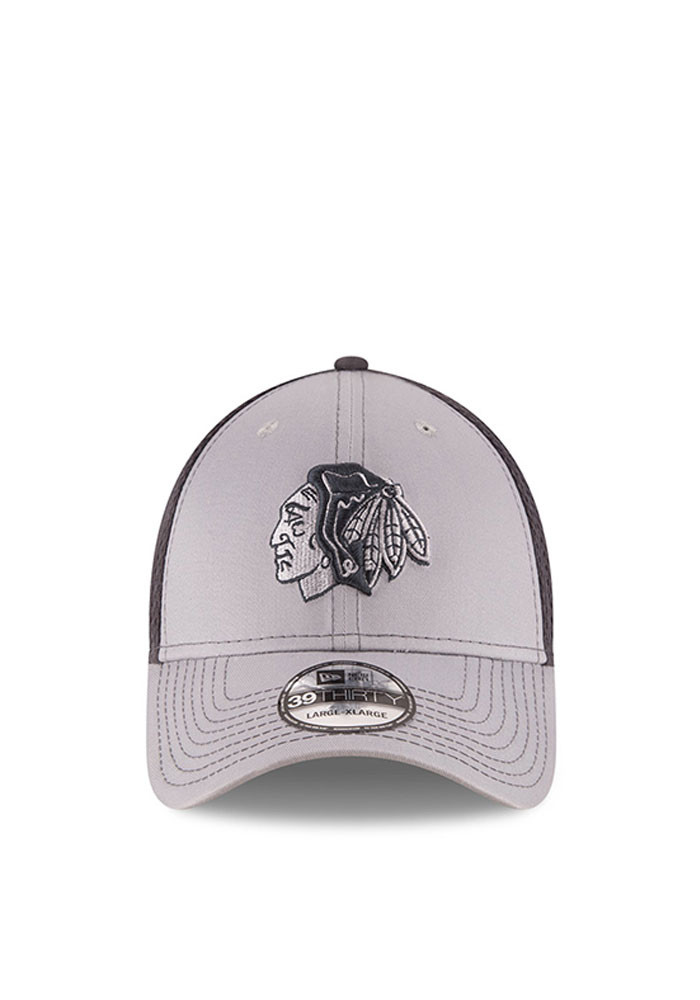 New Era Chicago Blackhawks Mens Grey Grayed Out Neo 2 39THIRTY Flex Hat - Image 2