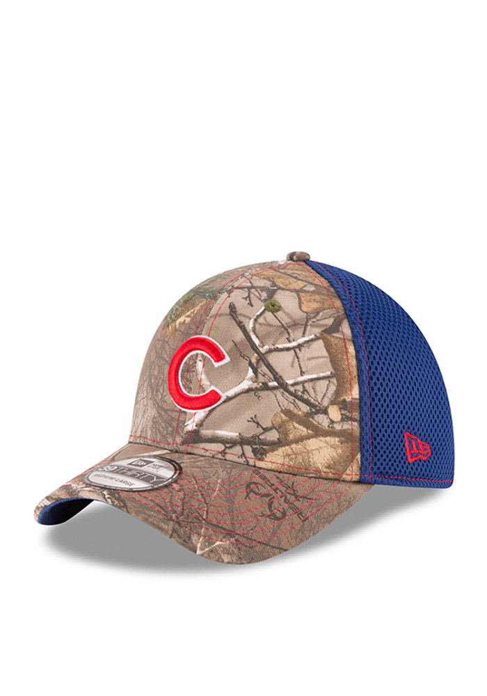 New Era Chicago Cubs Mens Green Realtree Neo 39THIRTY Flex Hat - Image 1