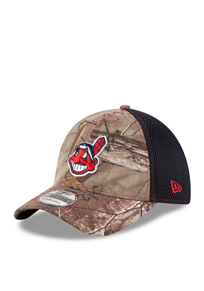 New Era Cleveland Indians Mens Green Realtree Neo 39THIRTY Flex Hat - Image 1