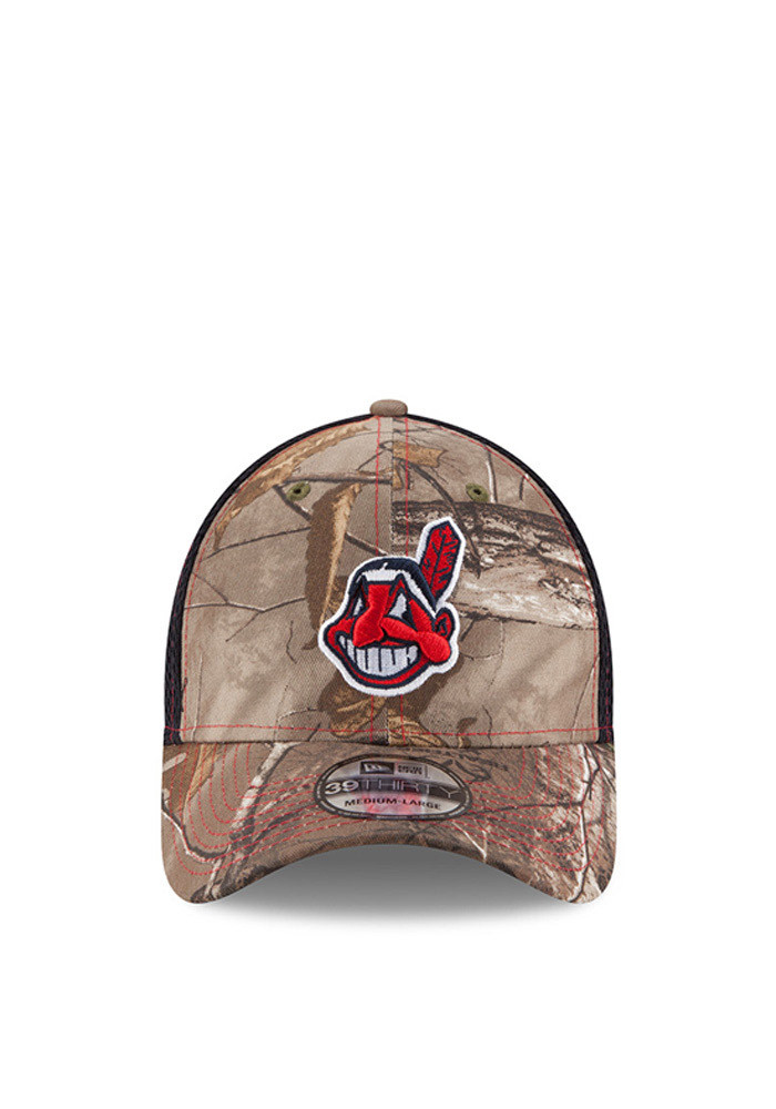 New Era Cleveland Indians Mens Green Realtree Neo 39THIRTY Flex Hat - Image 2