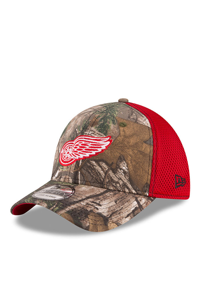 New Era Detroit Red Wings Mens Green Realtree Neo 39THIRTY Flex Hat - Image 1