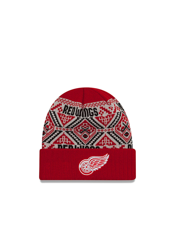 New Era Detroit Red Wings Red Cozy Cuff Mens Knit Hat - Image 1