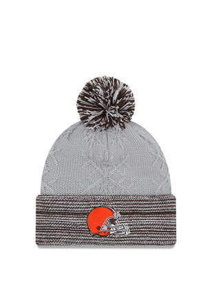 New Era Cleveland Browns Womens Grey Snow Crown Redux Knit Hat
