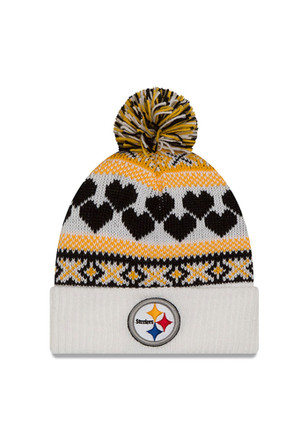 New Era Pitt Steelers White Winter Cutie Knit Hat