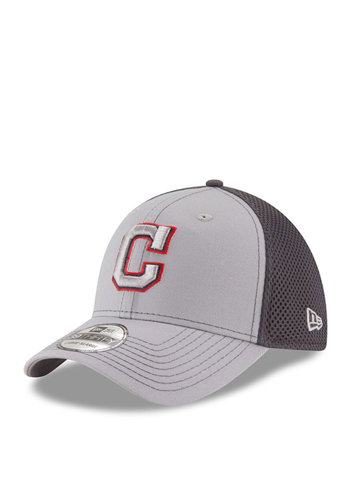Cleveland Indians Grey Grayed Out Neo 2 39THIRTY Youth Flex Hat - Image 1