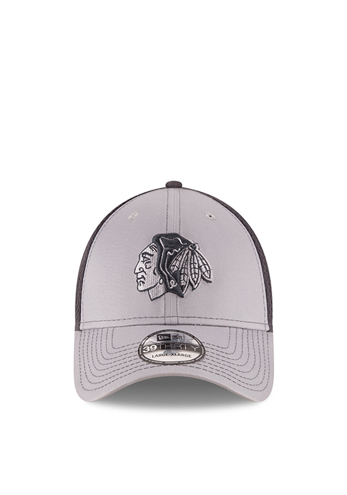 Chicago Blackhawks Grey Grayed Out Neo 2 39THIRTY Youth Flex Hat - Image 2