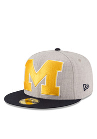 Michigan Wolverines New Era Grey Heather Grand 59FIFTY Fitted Hat