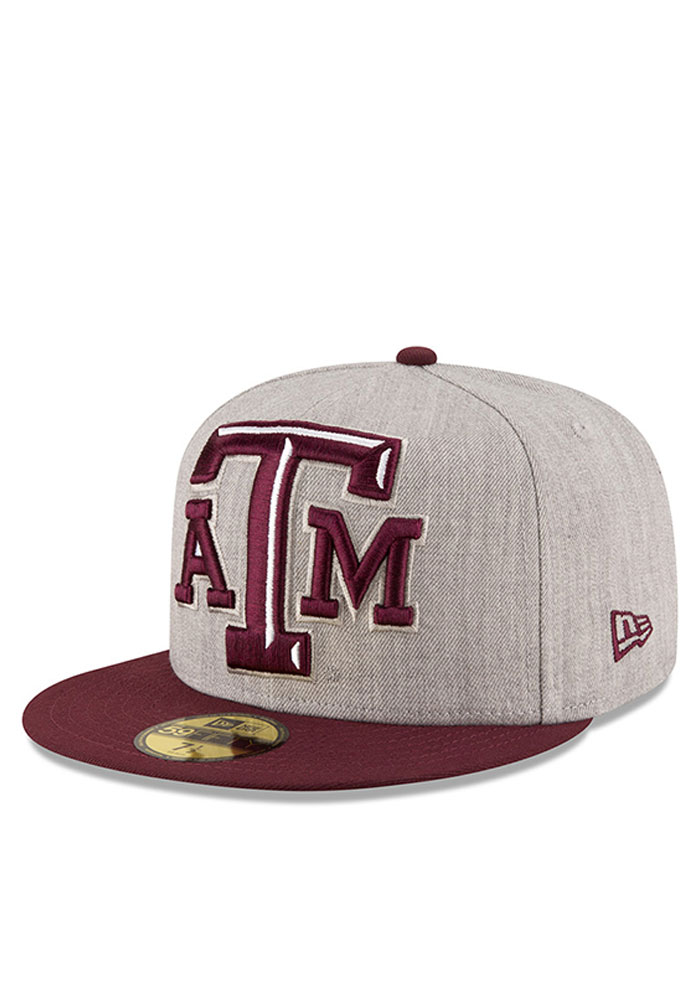 New Era Texas A&M Aggies Mens Grey Heather Grand 59FIFTY Fitted Hat - Image 1
