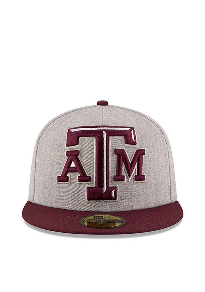 New Era Texas A&M Aggies Mens Grey Heather Grand 59FIFTY Fitted Hat - Image 2