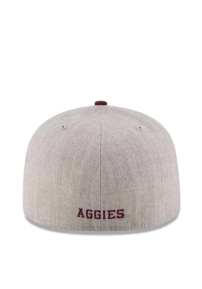 New Era Texas A&M Aggies Mens Grey Heather Grand 59FIFTY Fitted Hat - Image 3