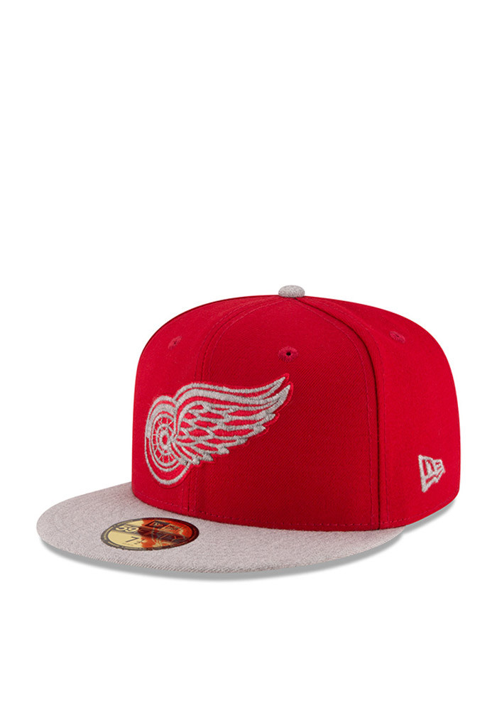 New Era Detroit Red Wings Mens Red Heather Fresh Fit 59FIFTY Fitted Hat - Image 1