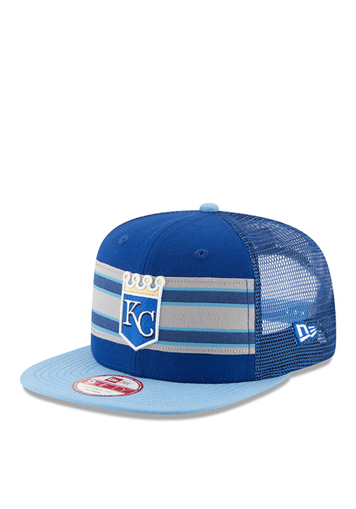 New Era Kansas City Royals Blue Throwback Stripe 9FIFTY Mens Snapback Hat - Image 1