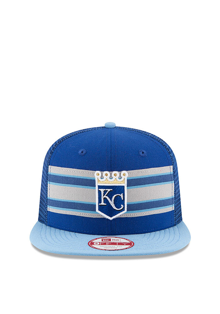 New Era Kansas City Royals Blue Throwback Stripe 9FIFTY Mens Snapback Hat - Image 2